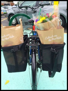 Liz Vequist picks up healthy food with her bicycle.